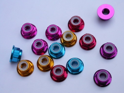 ALU. NYLON NUT W/FLANGE (10 PCS / SET)
